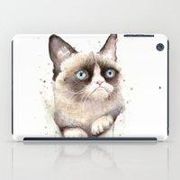 Grumpy Watercolor Cat iPad Case