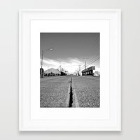 Framed Art Print featuring Empty street by Vorona Photography