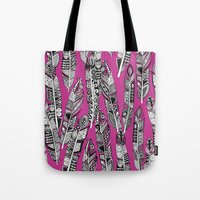 Geo Feathers Hot Pink Tote Bag