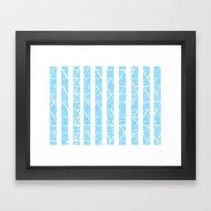 blue stripes with white Framed Art Print