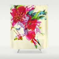 Shower Curtain featuring Exploded Floral by Clemm