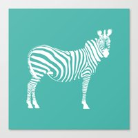 Big Teal Zebra Canvas Print