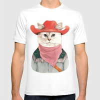 Rodeo Cat Mens Fitted Tee White SMALL