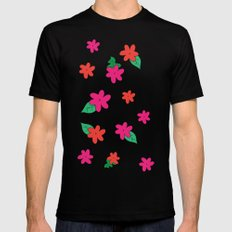little pink flowers Black SMALL Mens Fitted Tee