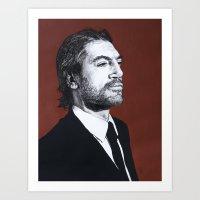 Portrait of Javier Bardem Art Print