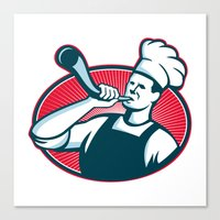 Chef Cook Baker Blowing … Canvas Print