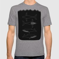 Humpback Whale On Black Mens Fitted Tee Athletic Grey SMALL