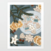 Gingerbread Men Cookies Art Print