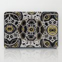Fantasy lace abstract, white & yellow on black iPad Case