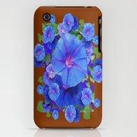iPhone 3Gs & iPhone 3G Cases featuring Sky Blue Morning Glory Flowers Coffee Brown Abstract by sharlesart