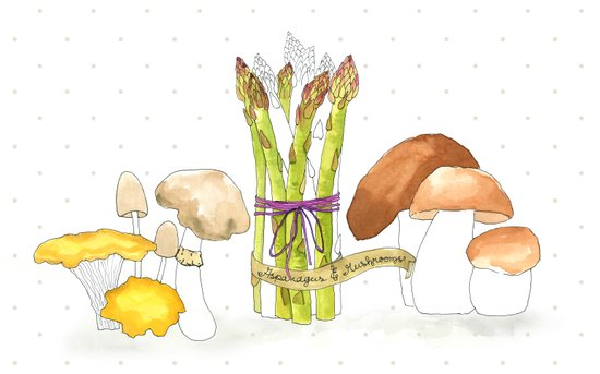 asparagus and mushrooms Art Print