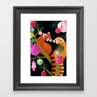 Red Pandas In Christmas … Framed Art Print