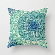Emerald Doodle Throw Pillow