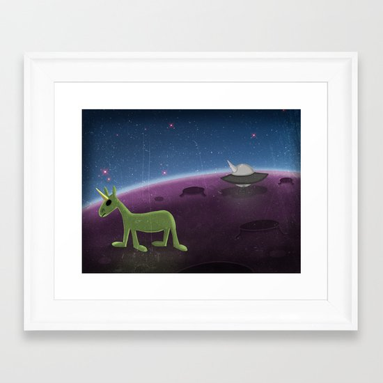 U.F.O. Unicorn Flying Object Framed Art Print