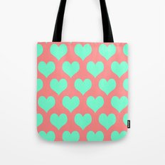 Hearts of Love Coral Mint  Tote Bag