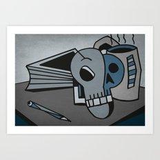 Skull, Book and Coffee Art Print