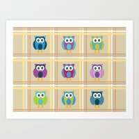 Plaid Owls Art Print