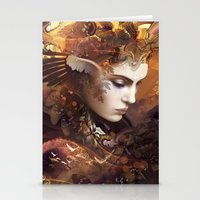 autumn Stationery Cards featuring Autumn by AlexToothArt