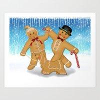 Gingerbread Family Winter Fun Art Print