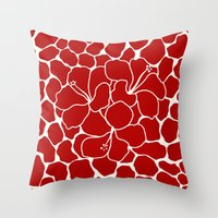 Hibiscus Animal RED IVOR… Throw Pillow