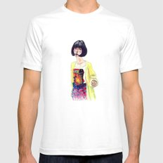 Fashion Illustration . Oriental Girl White SMALL Mens Fitted Tee