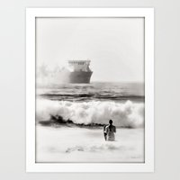 B&W Beach Scene 4 Art Print