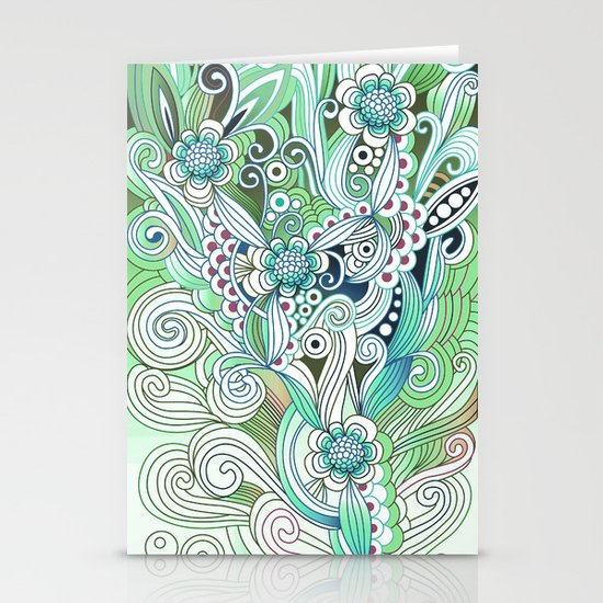 Zentangle Flower fire, green doodle Stationery Card