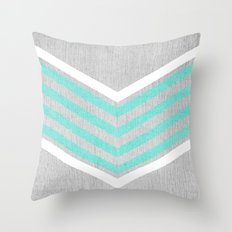 Teal And White Chevron O… Throw Pillow