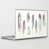 feathers Laptop & iPad Skins featuring Feathers // Birds of Prey by Amy Hamilton