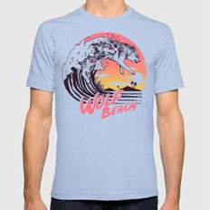 Wolf Beach Mens Fitted Tee Tri-Blue SMALL