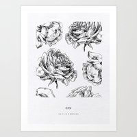 roses Art Prints featuring Roses  by Caitlin Workman