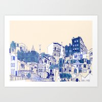 Blue Buildings Art Print