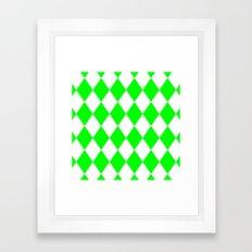 Diamonds (Green/White) Framed Art Print