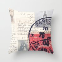 Postale Paris Throw Pillow