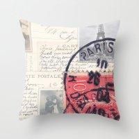 Postale Paris Throw Pillow