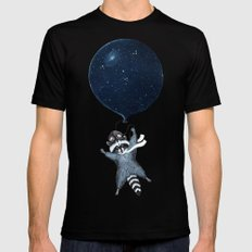 Raccoon Balloon Mens Fitted Tee SMALL Black