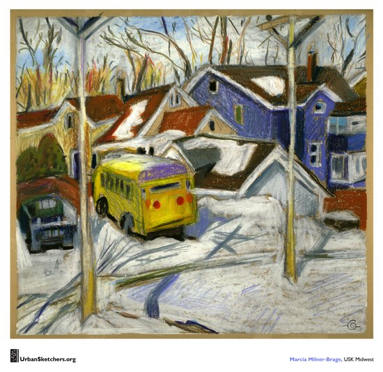 "Marcia Milner-Brage, ""School Bus in Vacant Lot"" Canvas Print"