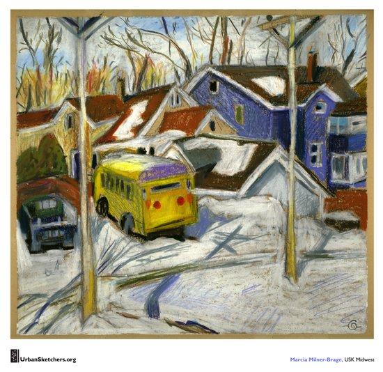 "Marcia Milner-Brage, ""School Bus in Vacant Lot"" Art Print"