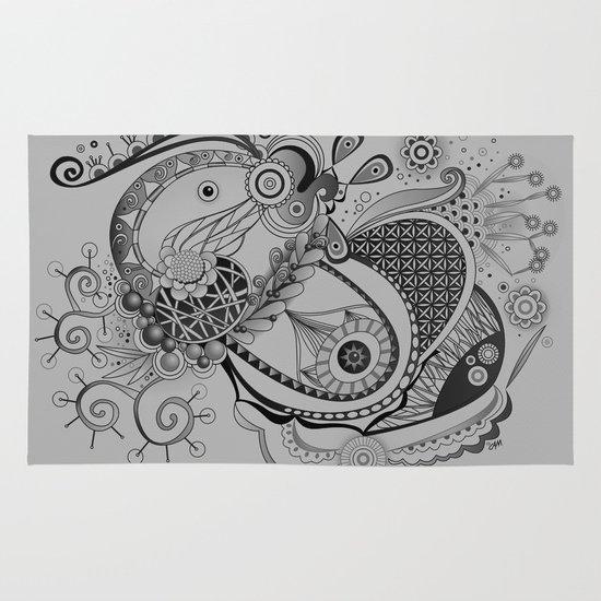 Ornate spring tangle, charcoal grey Area & Throw Rug