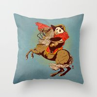 The Panda's Ride  Throw Pillow