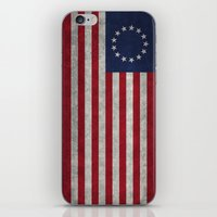 The Betsy Ross flag of the USA - Vintage Grungy version iPhone & iPod Skin