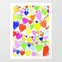 garlands of hearts  Art Print