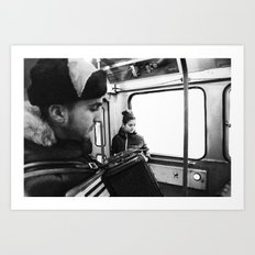 Playing the accordion in the tram, Göteborg Sweden Art Print
