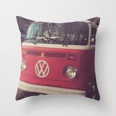 Volkswagen Bus Red & White Vintage Print Throw Pillow