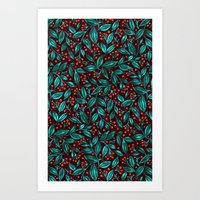 ORANGE BERRIES TURQUOISE LEAVES Art Print