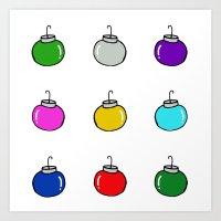Colorful Christmas Baubles Art Print