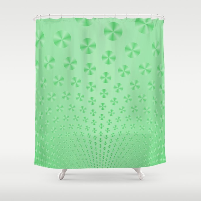 Discs On Mint Green Shower Curtain By Objowl Society6
