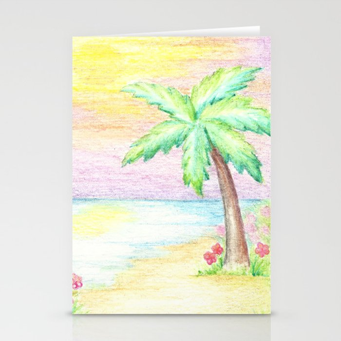 Palm Tree, Beach Decor, Whimsical Stationery Cards By