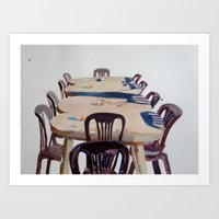 Chairs, Greece Art Print