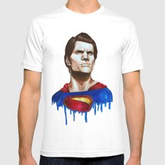 Man Of Steel White Mens Fitted Tee SMALL
